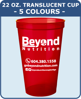 22 Oz Translucent Cup - 5 Colours
